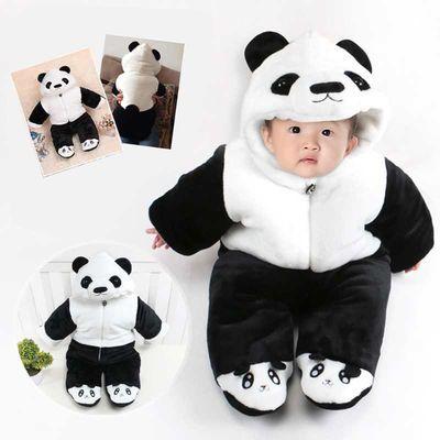 宝宝哈衣冬季加厚包脚婴儿连体衣卡通动物造型衣服新生儿棉衣爬服