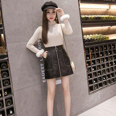 pu皮裙女秋冬韩版学生ins短裙a字裙高腰包臀裙显瘦黑色裙子半身裙