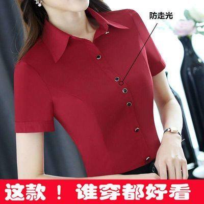 37388/2020白衬衫女短袖职业夏装修身雪纺韩版正装显瘦百搭红衬衣工作服