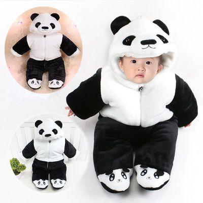 婴儿哈衣冬季加厚包脚宝宝连体衣卡通动物造型衣服新生儿棉衣爬服