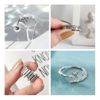 韩版简约纯银戒指女个性可调节字母戒指时尚百搭食指潮人银饰饰品