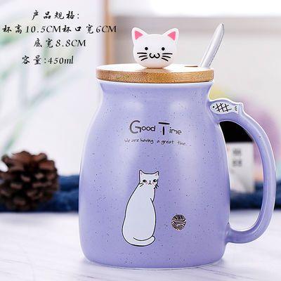 热卖创意可爱马克杯女猫咪陶瓷杯带盖带勺情侣杯子水杯家用咖啡牛