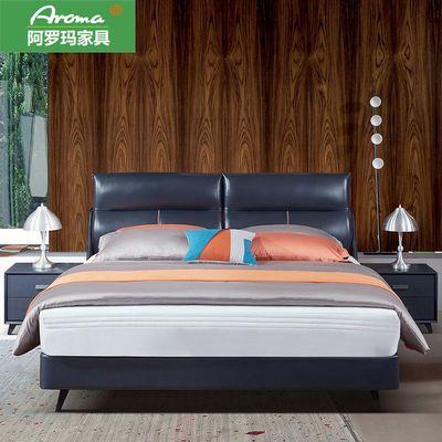 轻奢真皮床北欧现代简约主卧1.8m双人意式极简小户型皮艺软包婚床