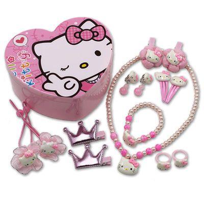 儿童项链礼盒手链耳夹戒指公主首饰holle kitty吊坠女童饰品