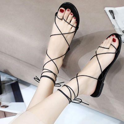 绑带凉鞋女鞋夏季时尚新款休闲百搭学生网红沙滩鞋旅游罗马凉鞋