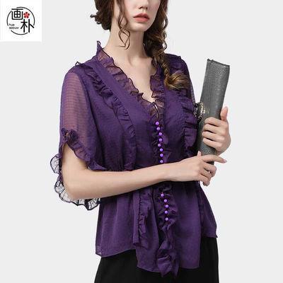 欧货收腰显瘦洋气小衫时尚气质短袖衬衫上衣女夏荷叶边v领雪纺衫
