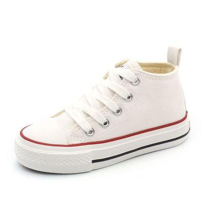 芭芭鸭儿童帆布鞋男童布鞋女童休闲鞋中帮2019春季新款小白鞋板鞋