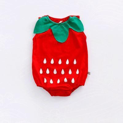 婴儿连体衣服新生儿纯棉包屁衣宝宝三角哈衣水果造型外出爬服夏季