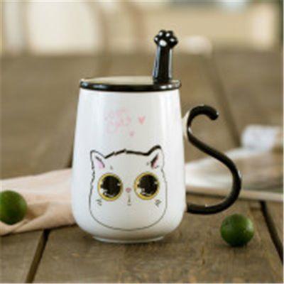 热卖创意韩版猫咪陶瓷杯子情侣杯一对个性水杯牛奶马克杯大容量办