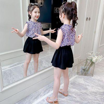 【裙子+短裤】女童洋气套装2020夏装时髦新款两件套短袖连衣裙潮