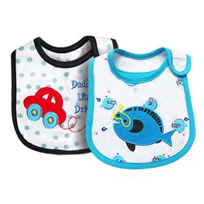 婴儿口水巾防水围嘴新生儿宝宝防吐奶喂奶巾吃饭兜围兜2条装
