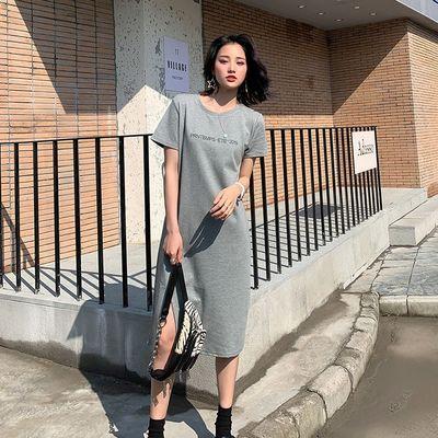 热卖【95%棉】开叉字母短袖连衣裙女夏韩版宽松中长款过膝黑色t恤