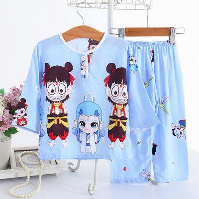 夏季儿童棉绸睡衣男童女孩1-13岁宝宝薄款长袖绵绸家居服卡通套装
