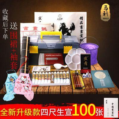 马利国画工具套装24色12色水墨工笔画中国毛笔宣纸国画颜料初学者