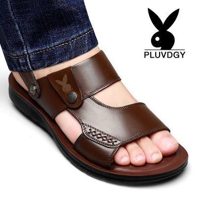 【100%全牛皮】花花公子真皮男士凉鞋夏季天新款防滑沙滩鞋凉拖鞋