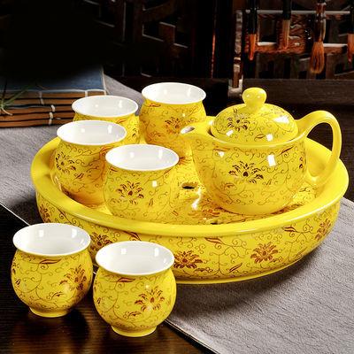 带茶盘隔热陶瓷功夫茶具双层杯茶具套装特价整套茶壶茶杯