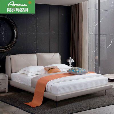 北欧轻奢实木床ins网红风现代简约主卧小户型软包婚床1.8米双人床