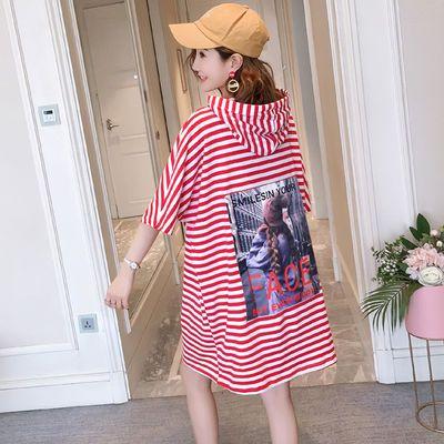 贴布印花韩版条纹连帽宽松体恤女胖mm大码蝙蝠袖中长款短袖t恤裙