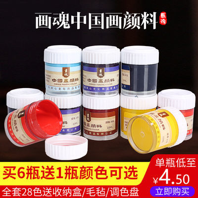 套装水墨工笔画套装牡丹写意国画染料22ml儿童画画颜料中国画颜料