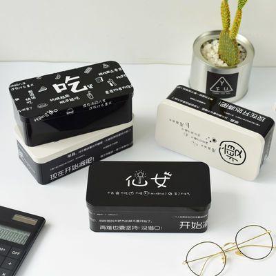 大班长双层文具盒韩版彩色收纳盒桌面创意马口铁多功能学生铅笔盒