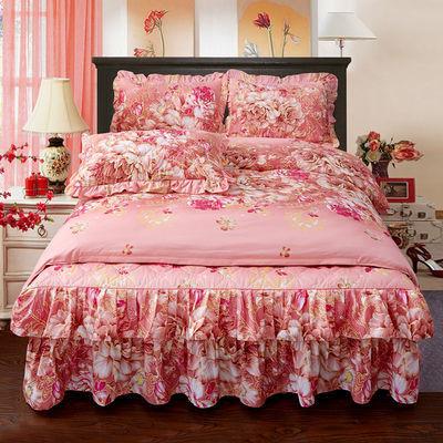 冬季保暖【加厚夹棉】床裙四件套床罩公主床单被套床上用品三件套