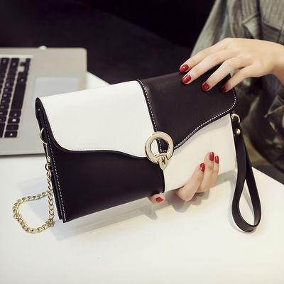 女包新款手包单肩斜挎撞色小包包韩版百搭手抓包手拿包女款包包潮