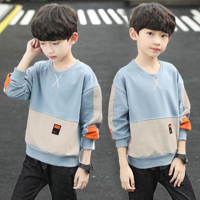 男童秋冬装长袖T恤2021新款中大童加绒卫衣男孩打底衫儿童上衣潮