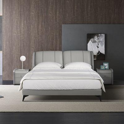 意式极简真皮床 现代简约北欧主卧1.5 1.8米双人床轻奢皮布床婚床
