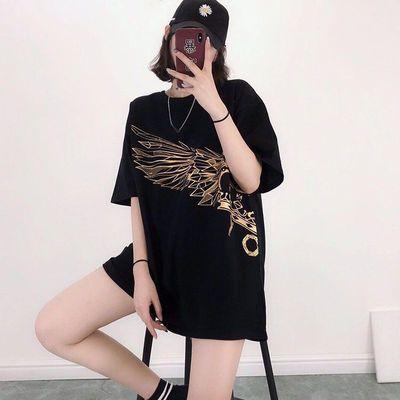 2020夏季新款韩版BOY皇冠翅膀烫金印花棉宽松中长款圆领短袖T恤女
