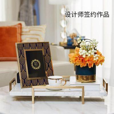 欧式新古典金属玻璃方形6寸相框摆台样板房床头柜装饰品桌面摆件