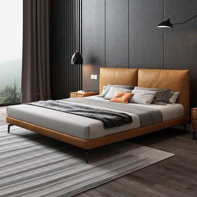 法兰妮意式极简真皮床主卧双人床北欧轻奢高档软床现代简约婚床