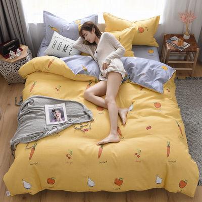加厚全棉四件套100%纯棉单被套床单双人学生宿舍卡通长绒棉三件套