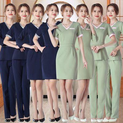 新款女高端养生馆美容院美容师服装短袖美容美发店连衣裙时尚夏季