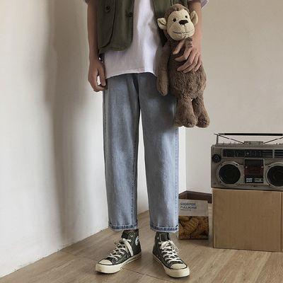 港风阔腿裤夏季潮流牛仔裤男宽松韩版学生直筒裤子男九分裤浅蓝色