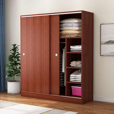 衣柜现代简约家用卧室实木推拉门经济型简易组装出租房用儿童衣橱