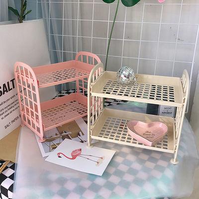 韩国软妹少女心可爱粉色双层置物架寝室桌面整理装饰化妆品收纳架