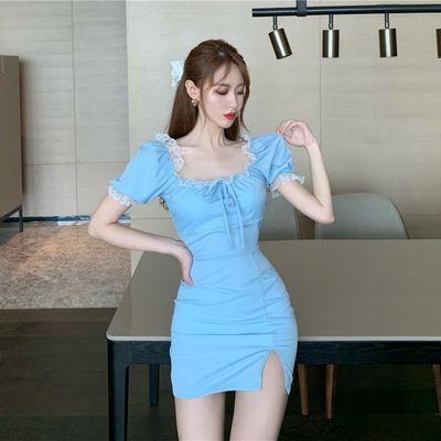 法式小众蓝色连衣裙女2020新款收腰气质短裙夏季蕾丝方领系带裙子【7月18日发完】