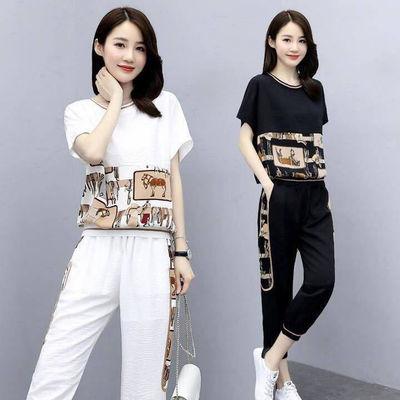 单件/套装女2020夏季新款时尚休闲韩版宽松短袖上衣九分裤两件套