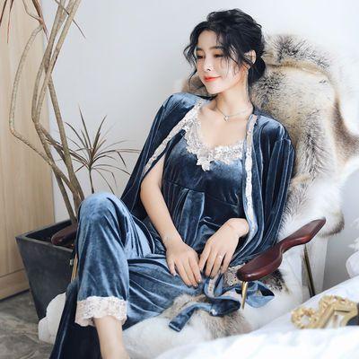 金丝绒睡衣女三四件套秋冬性感吊带睡裙长袖睡袍保暖家居服带胸垫