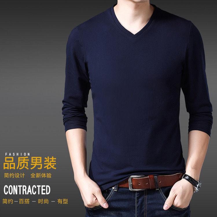 四季修身男士长袖t恤男装纯色v领修身潮流上衣打底衫