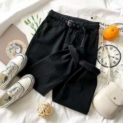 黑色直筒哈伦裤高腰显瘦春夏季网红款宽松休闲气质牛仔九分裤女潮
