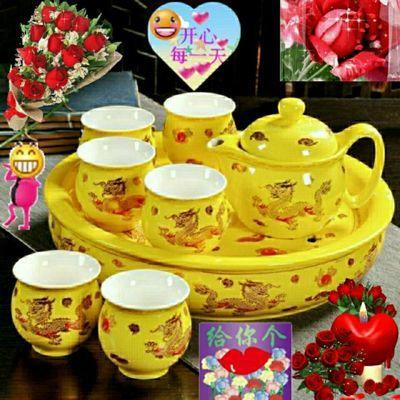 高档尊贵防烫双层杯茶具套装家用陶瓷功夫茶具整套青花瓷泡茶壶防