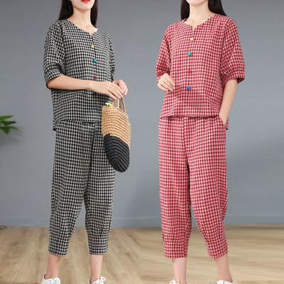 时尚棉麻套装夏季短袖格子上衣宽松休闲七分裤亚麻两件套女小个子