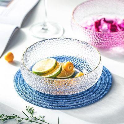 日系轻奢手工圆点玻璃碗ins沙拉碗早餐小碗冰淇淋酸奶碗异形北欧