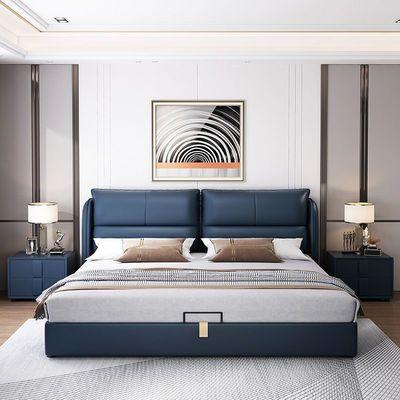 美式轻奢床网红床1.5米现代简约真皮皮艺床1.8米婚床双人床主卧床
