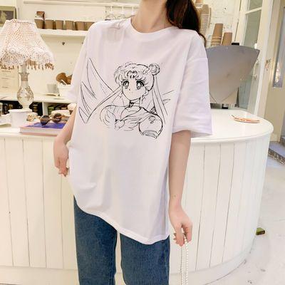 日系动漫短袖T恤女学生宽松夏季半袖中长款印花上衣BF风ins新款潮