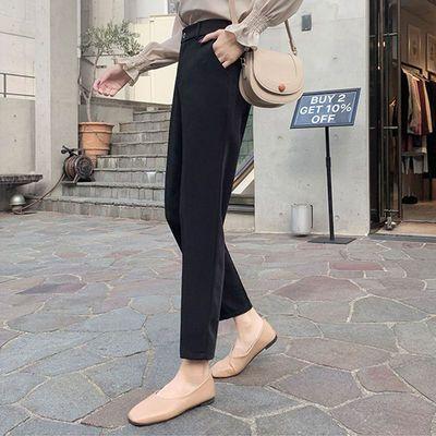 西装裤女夏季薄款直筒宽松垂感九分裤子高腰显瘦黑色职业装工作裤