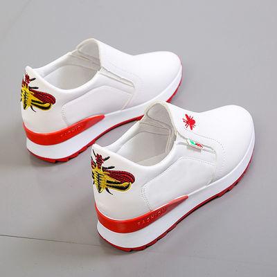 单网可选夏季镂空透气小白鞋女内增高坡跟一脚蹬网面休闲单鞋