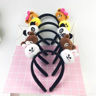韩国可爱布朗熊发箍宽边头箍卡通儿童小熊发绳发圈头绳兔耳朵头饰