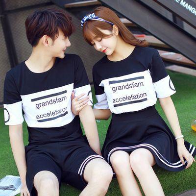 热卖情侣装夏装2020新款个性大码韩版夏季学生班服男女裙短袖T恤